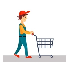 Delivery man with empty cart vector