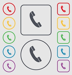 Call icon sign symbol on the round and square vector