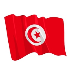 Political waving flag of tunisia vector