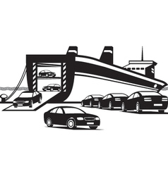 Cargo ship unloading new cars vector