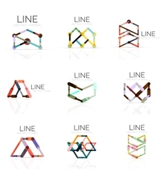 Set of linear abstract logos connected vector