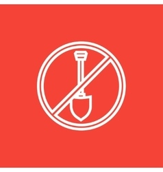 Shovel forbidden sign line icon vector