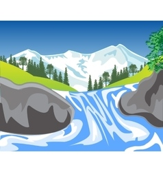 Waterfall in mountain vector
