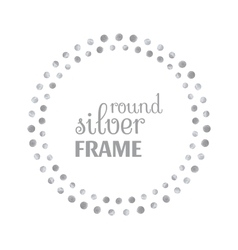 Round silver frame of dots vector