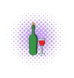 Wine bottle and wine glass icon comics style vector