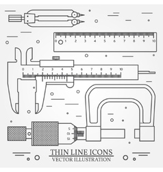 Set thin line icons caliper ruler pair of vector
