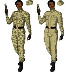 African male in sand khaki holds taser vector
