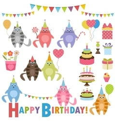 Birthday party set with cats vector