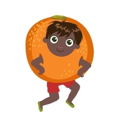 Boy dressed as orange vector