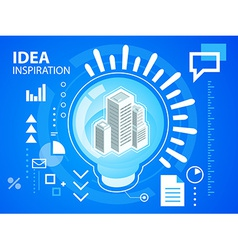 Bright light bulb and buildings on blue back vector
