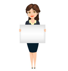 businesswoman holding blank banner for vector image vector image