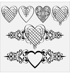 Calligraphic hearts elements vector