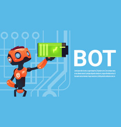 Chat bot hold battery robot virtual assistance vector