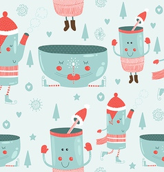 christmas background with mugs vector image vector image