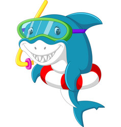 Cute shark cartoon with inflatable ring vector
