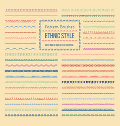 ethnic style pattern brushes set vector image