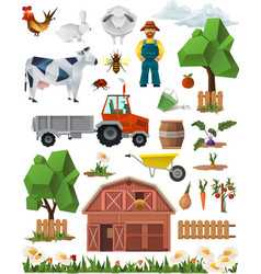 Farm low poly set of icons vector image vector image