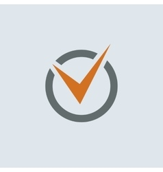 Gray-orange Check Mark Round Icon vector image vector image