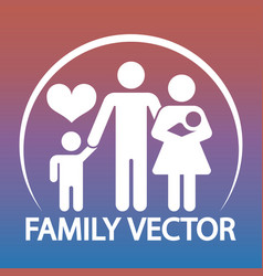 happy family logo design - parents and two kids vector image vector image