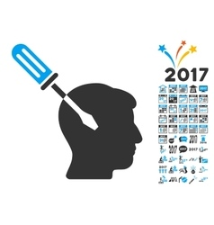 Intellect screwdriver tuning icon with 2017 year vector