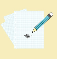 Paper and a pencil vector image