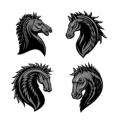 Raging stallion head heraldic icons set vector