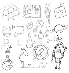 Science symbols with formula on white vector