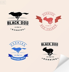 Set of logotypes with running dog for petshops vector