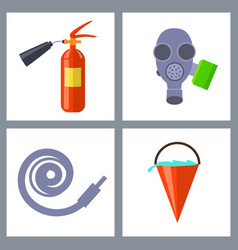set with icons of special firefighting equipment vector image