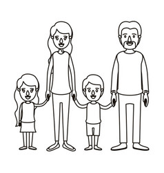Silhouette caricature family group with parents vector