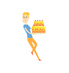 Smiling young man holding big festive cake cartoon vector
