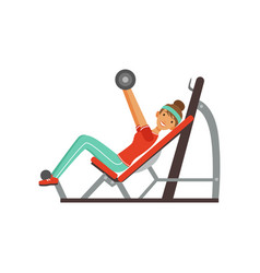 Sportive young woman character exercising with vector