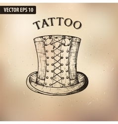 Steampunk tattoo hat vector