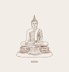 thai culture concept with buddha and vase of vector image vector image