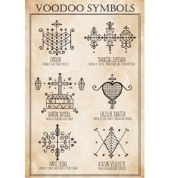 Voodoo spiritual dieties symbols set vector