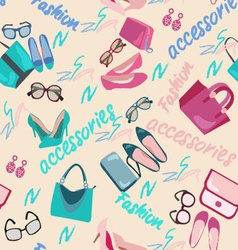 Woman accessories bags shoes and glasses fashion vector
