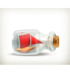 Boat in a bottle icon vector