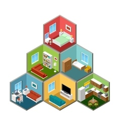 Flat 3d isometric house interior vector