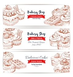 Desserts sketch bakery shop banners set vector