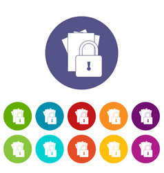folders with padlock set icons vector image