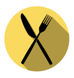 Fork and knife sign  flat black icon with vector
