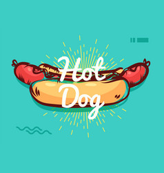 Hot dog poster with cool design vector