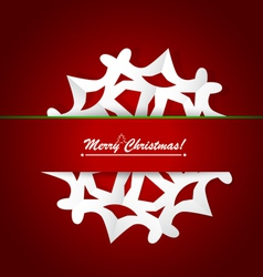 Merry christmas postcard with origami snowflake vector image