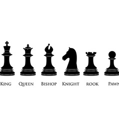 Black chess pieces with names vector