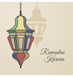 Ramadan kareem card with oriental lamp vector