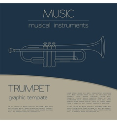 Musical instruments graphic template trumpet vector