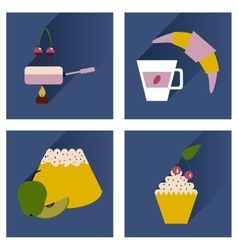Modern flat icons collection shadow dessert vector