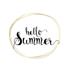 Hello summer inscription greeting card with vector