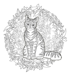 High detail patterned cat vector