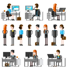 Office People Cartoon Icons Set vector image
